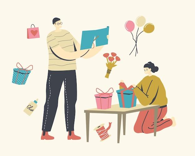 Personaggi maschili e femminili che tagliano carta da regalo, fanno regali per le festività natalizie e calorose congratulazioni ad amici e familiari, attività natalizie, regali