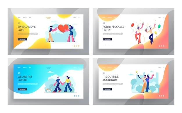 Incontri di personaggi maschili e femminili, coppie amorose sane e disabili che trascorrono del tempo insieme, camminando con animali domestici, feste, set di pagine di destinazione del sito web, pagina web.