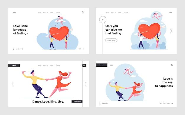 Set di pagine di destinazione del sito web che si innamorano di personaggi maschili e femminili.