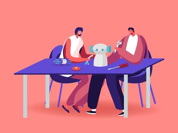 Personaggi maschili e femminili che fanno robot a casa