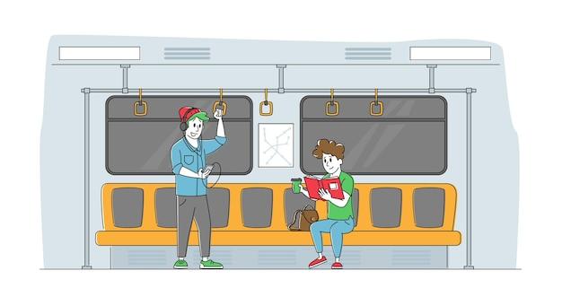 Personaggi maschili e femminili nella metropolitana urbana sotterranea