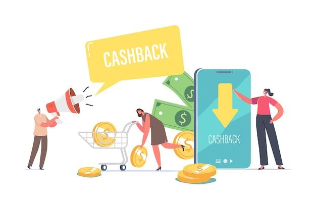 Personaggi maschili e femminili utilizzano il concetto di servizio di rimborso virtuale online dell'applicazione cashback