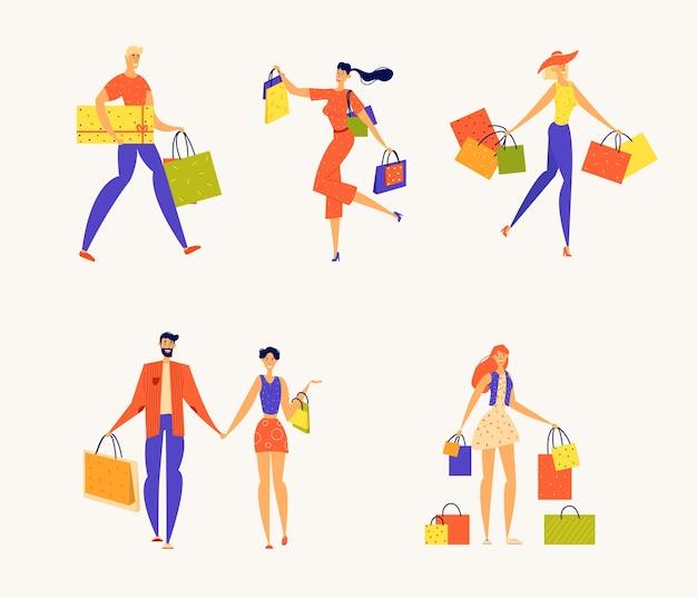 Personaggi maschili e femminili con scatole regalo