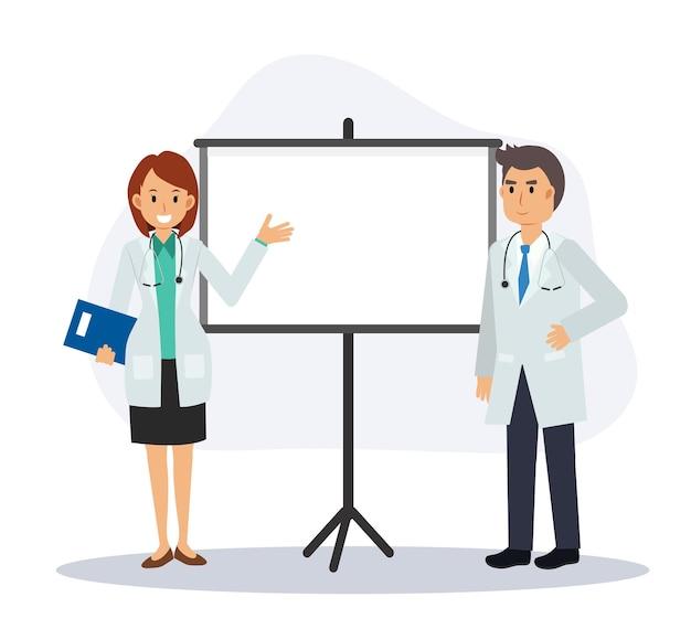I medici maschi e femmine stanno dando una presentazione. illustrazione del personaggio dei cartoni animati di vettore piatto.