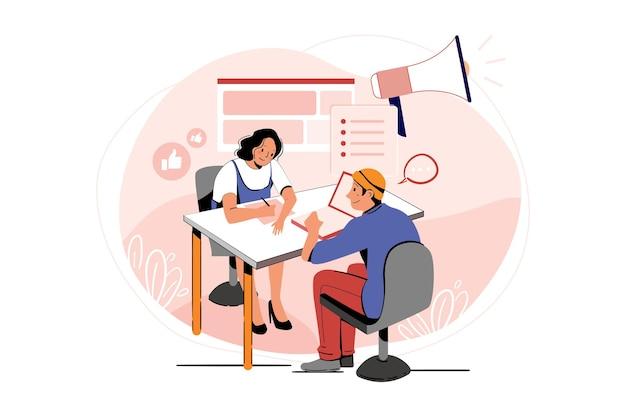 Impiegato maschio e femmina che fa marketing online