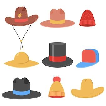 Insieme del fumetto di cappelli maschili e femminili isolato su uno sfondo bianco.