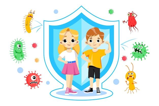 Bambini maschii e femminili che indossano maschere mediche. illustrazione di concetto di protezione da virus e inquinamento in stile cartone animato piatto. composizione con bambini, scudo sanitario, diversi virus dietro di loro.