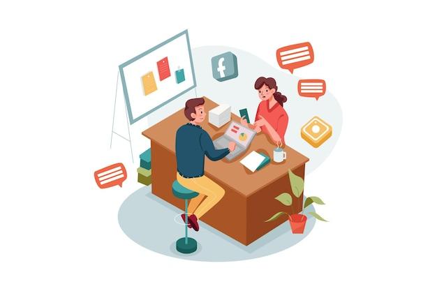 Dipendenti di marketing maschi e femmine che fanno marketing sui social media