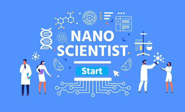 Nano scientist illustration maschile e femminile