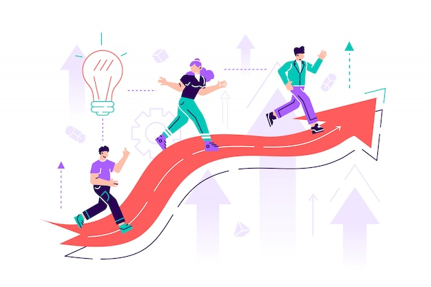 Impiegati, manager o impiegati di sesso maschile e femminile che si arrampicano sul grafico crescente. raggiungimento degli obiettivi aziendali, avanzamento e avanzamento della scala di carriera, competizione professionale. illustrazione di stile piatto