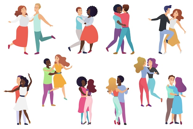 Coppie di ballerini maschili e femminili. coppia di uomini e donne, gruppo di gente che balla felice.