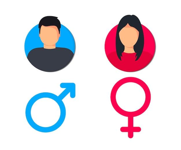 Pittogramma maschile e femminile per la progettazione di siti web e app mobili profilo utente uomo e donna gentleman
