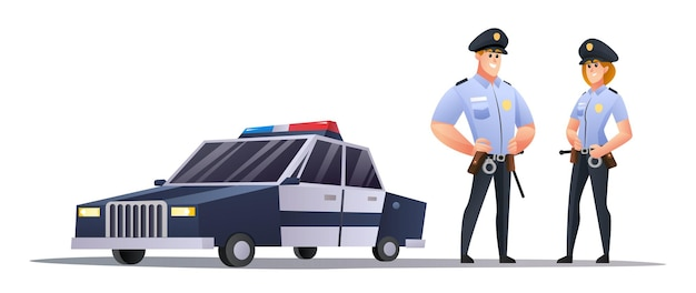 Agenti di polizia maschi e femmine in piedi accanto all'illustrazione dell'auto della polizia