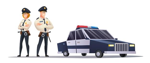 Agenti di polizia maschi e femmine con auto della polizia