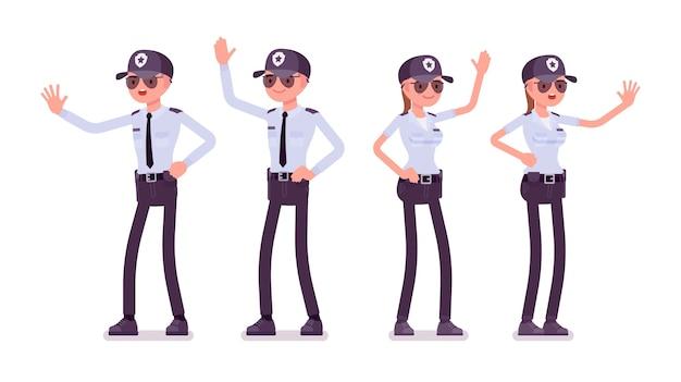 Guardia di sicurezza maschile e femminile