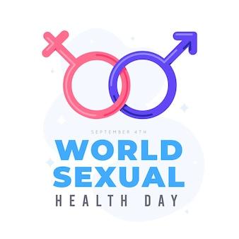 Giornata mondiale della salute sessuale di simboli maschili e femminili