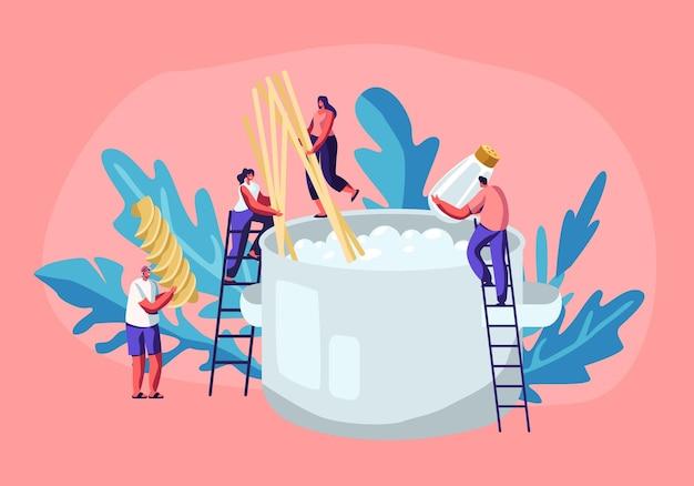 Piccoli personaggi maschili e femminili che cucinano la pasta, mettono gli spaghetti e i maccheroni secchi in una padella enorme con acqua bollente in piedi sulle scale, processo di preparazione del cibo gustoso
