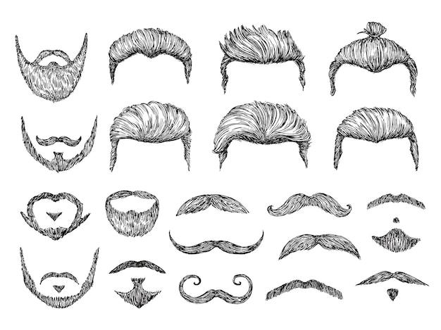 Schizzo di capelli maschili. barba, baffi elementi facciali.