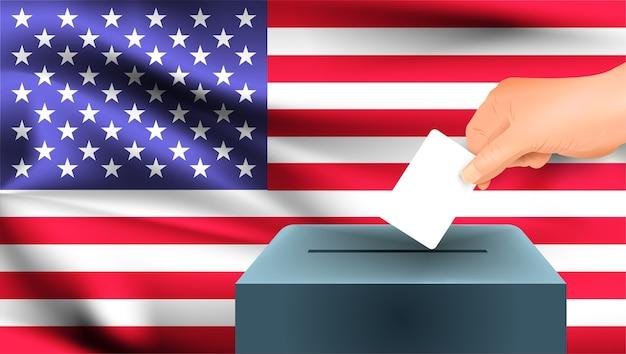 Mano maschio che lancia una scheda elettorale
