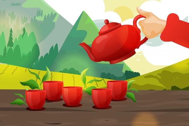 Roba maschio della teiera della tenuta della mano, illustrazione asiatica del fumetto dell'insegna di cerimonia del tè. pubblicità composizione orientale del paesaggio.