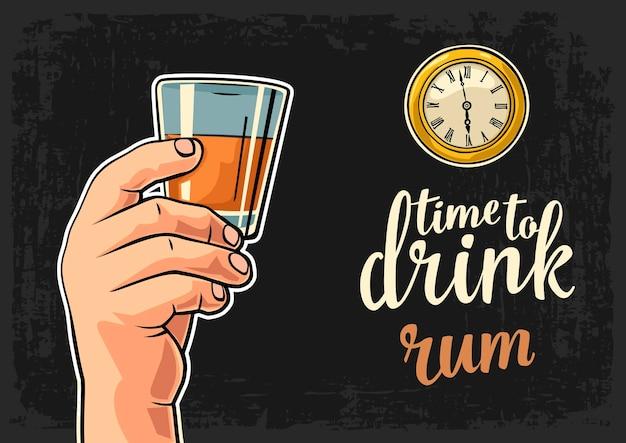 Mano maschile che tiene in mano un bicchiere di rum antico orologio da tasca vector flat illustration time to drink lettering