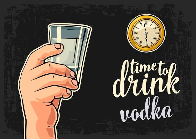 Vodka di vetro della tenuta della mano maschio e orologio da tasca antico illustrazione piana di vettore time to drink