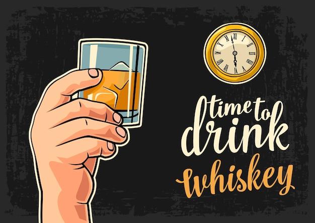 Mano maschio che tiene whisky di vetro e orologio da tasca antico illustrazione piatta vettoriale tempo di bere