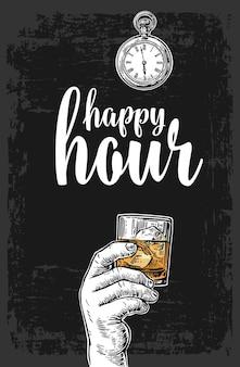 Mano maschile che tiene un bicchiere con whisky e cubetti di ghiaccio incisione vettoriale vintage happy hour
