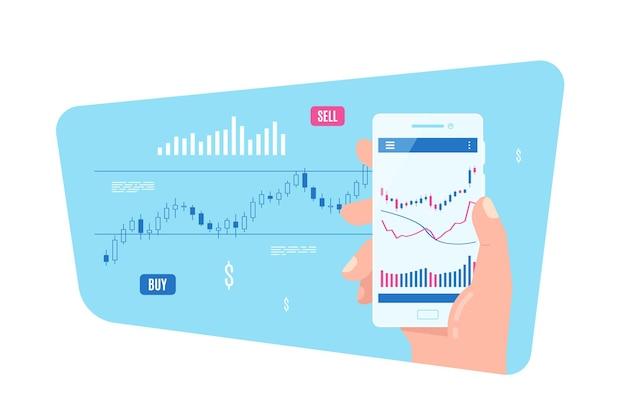 Mano maschio che tiene smartphone con grafico a candeliere sullo schermo. concetto di applicazione di trading mobile