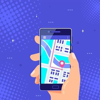 Mano maschio che tiene smartphone con mappa e puntatore sullo schermo