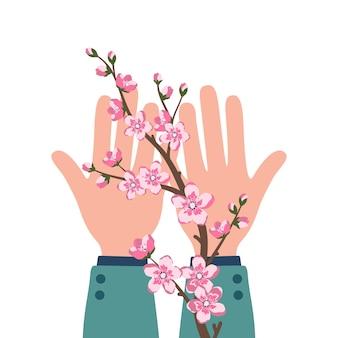 Le mani maschili tengono in mano un ramo di sakura. delicati petali di fiori di ciliegio, fioritura primaverile. decorazioni festive per matrimoni, vacanze, cartoline, poster, salone di bellezza, trattamenti termali. illustrazione vettoriale