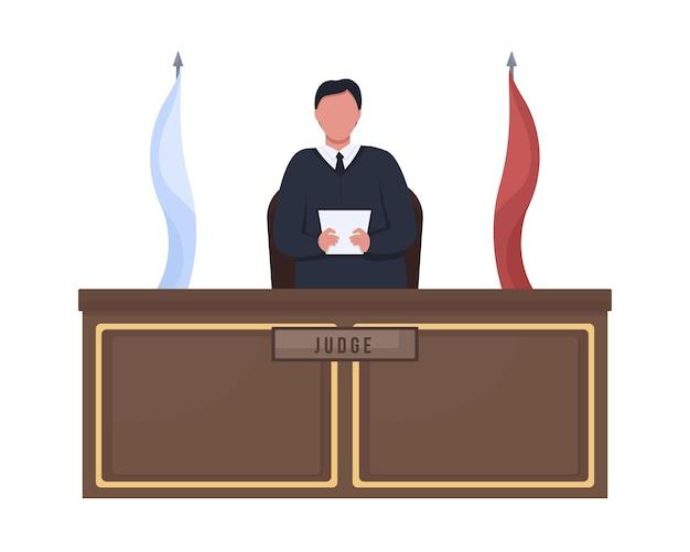 Giudice maschio in piedi dietro il personaggio di vettore di colore semi piatto del podio persona a corpo intero su bianco