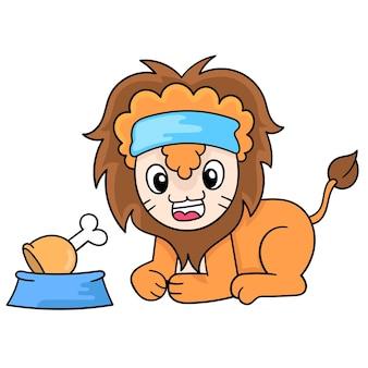 Il leone maschio con capelli folti, una faccia amichevole, era seduto davanti a un pasto a base di carne, illustrazione vettoriale. scarabocchiare icona immagine kawaii.