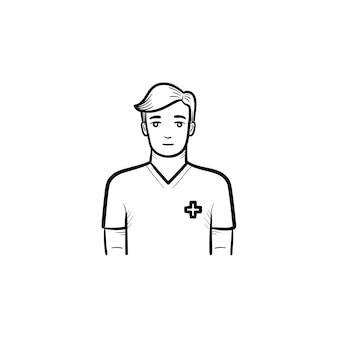 Icona di doodle di contorni disegnati a mano infermiere maschio. l'uomo in uniforme. medicina e concetto di assistenza sanitaria. illustrazione di schizzo vettoriale per stampa, web, mobile e infografica su sfondo bianco.