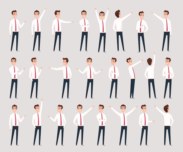 Indicare maschio. caratteri dell'uomo d'affari in piedi e offrendo leader consultivo che indica le persone. imprenditore professionista di illustrazione, manager dei dipendenti umani