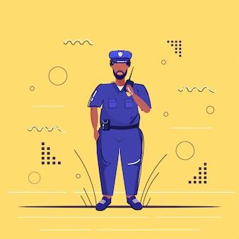 Ufficiale di polizia maschio che utilizza il poliziotto afroamericano del walkie-talkie in uniforme che parla sull'abbozzo di concetto di servizio di legge della giustizia dell'autorità di sicurezza della radio integrale