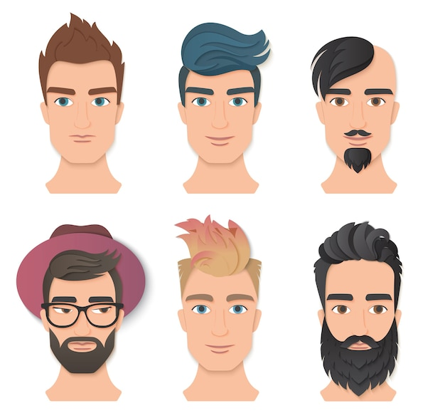 Set viso avatar ritratto maschile. il giovane uomo alla moda si affaccia con varie barbe e acconciatura. arte di taglio a strati di carta alla moda. logo di concetto di moda bellezza origami