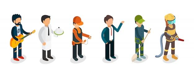 Professionisti maschii isolati su fondo bianco. musicista isometrico, vigile del fuoco, cameriere, elettricista, bidello personaggi