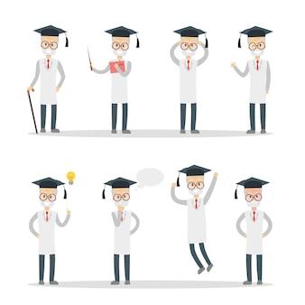 Set di professori maschi. vecchio dai capelli grigi in camice bianco.