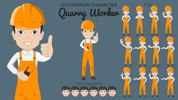 Set di caratteri di lavoratore di cava maschio con varietà di posa ed espressione del viso