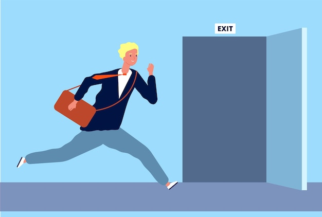 Il maschio corre per uscire. uomo d'affari che si muove rapidamente per aprire l'evacuazione della porta o fuga di emergenza fuori dal carattere vettoriale del luogo dell'ufficio. illustrazione uomo d'affari correre a porta, uomo d'affari maschio