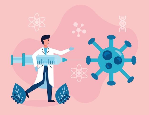 Maschio scientifico con iniezione e ricerca sul vaccino contro le particelle covid19