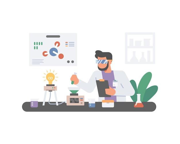 Uno scienziato maschio sta ricercando in laboratorio