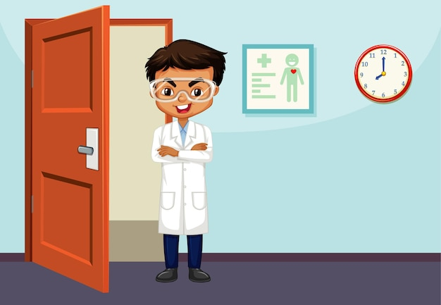 Scienziato maschio in piedi nella stanza