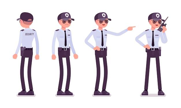 Guardia di sicurezza maschile in diverse pose