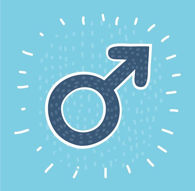 Icona del cerchio di simbolo di sesso maschile con una lunga ombra