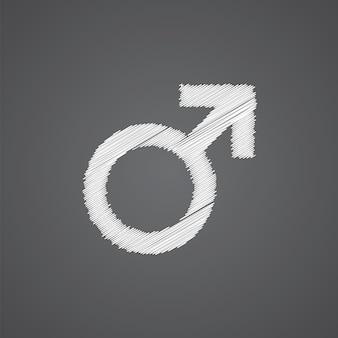 Icona di doodle del logo di schizzo maschile isolato su sfondo scuro