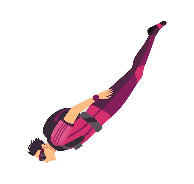Paracadutista maschio che vola con attrezzatura sportiva. paracadutismo sport estremo. carattere di salto in parapendio su bianco. sportivo hobby attivo salta.