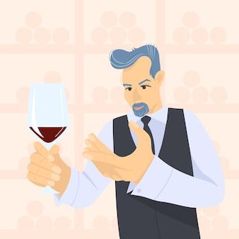 Sommelier maschio che esamina vino rosso in bicchieri da vino illustrazione piana del fumetto di vettore
