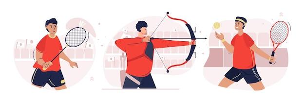 Set di illustrazioni per giochi sportivi maschili